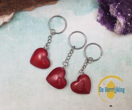 Sleutelhanger Rood Speksteen hart