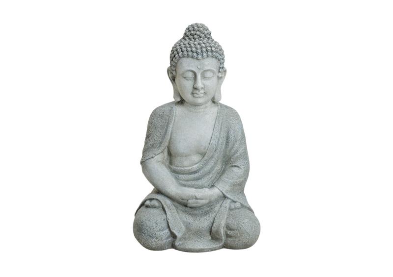 Boeddha zittend in grijs in Poly, 47 cm