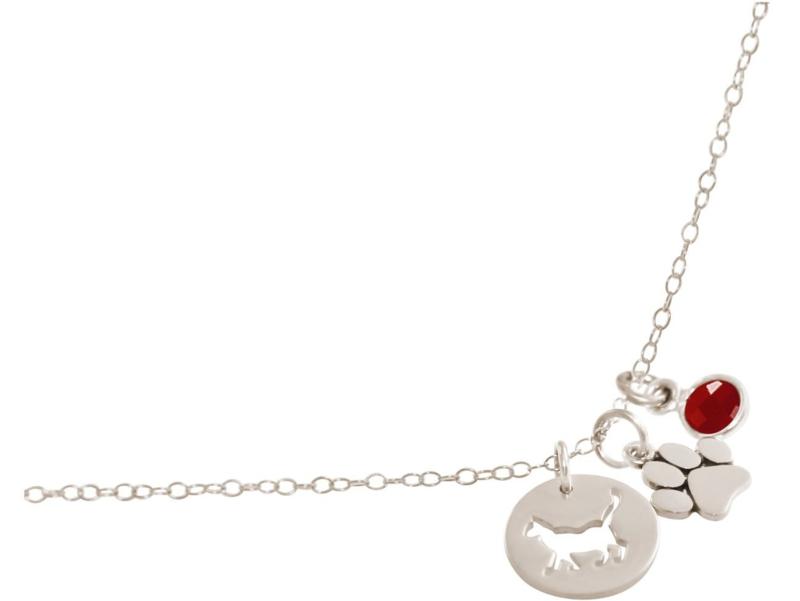 Kattenpoot met robijn edelsteen - 925 zilverenketting van 45 cm