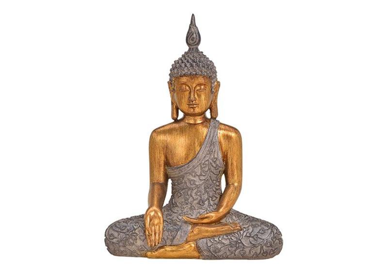 Boeddha van Poly Bruin, goud (B/H/T) 23x32x12cm