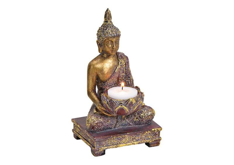 Theelichthouder Boeddha van Poly Bont, goud Glitter (B/H/T) 10x18x9cm