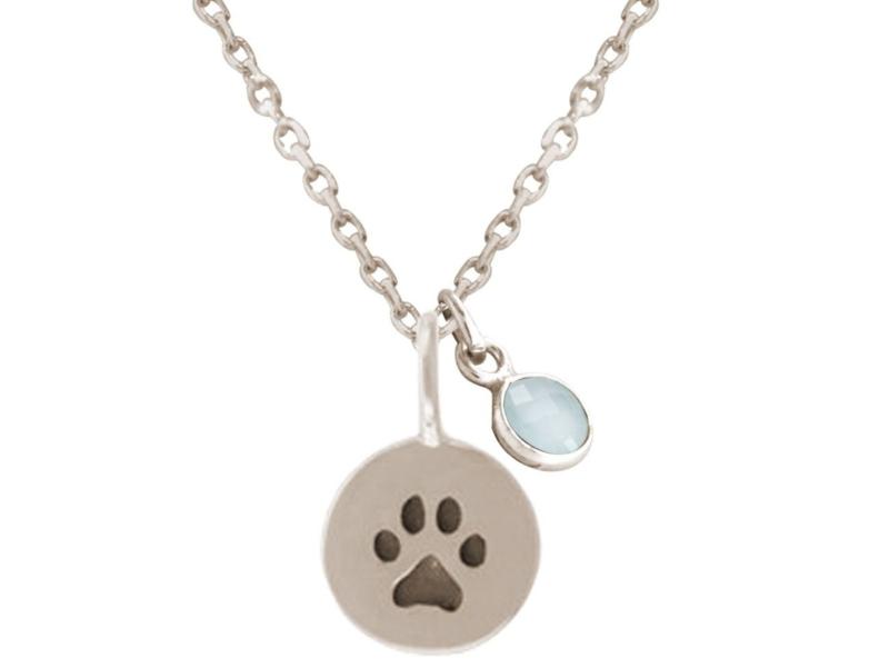 Hond of kattenpoot met blauwgroene chalcedoon hanger 925 zilver