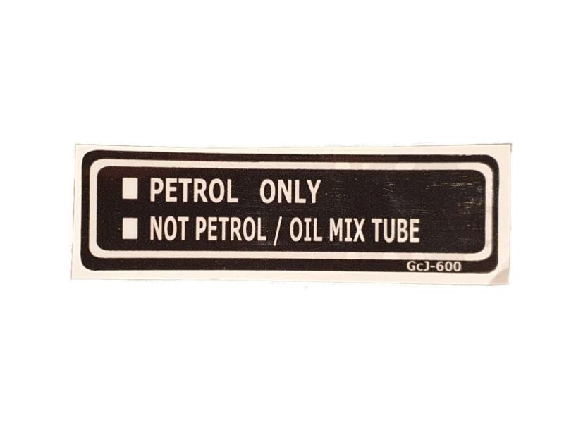 tank sticker transparant met zwarte opdruk