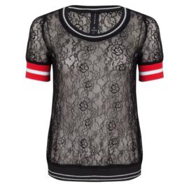JL Top/shirt zwart kant