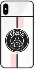 PSG uitshirt hoesje iPhone Xs wit roze softcase