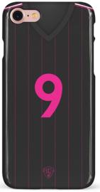 Zwart roze voetbalshirt hoesje iPhone 7 / 8 / SE (2020) softcase