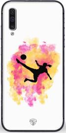 Voetbal meisje telefoonhoesje wit Samsung Galaxy A50 softcase