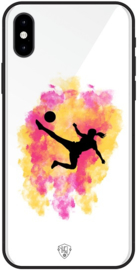 Voetbal meisje telefoonhoesje wit  iPhone X / Xs softcase