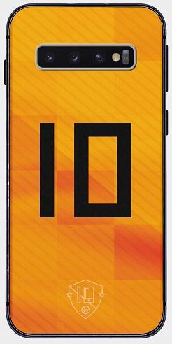 Oranje nummer 10 telefoonhoesje Samsung Galaxy S10 Plus softcase