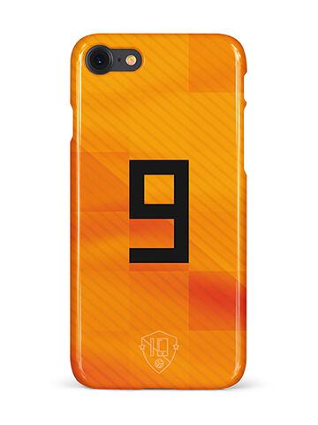 Oranje rugnummer 9 telefoonhoesje iPhone 7 softcase
