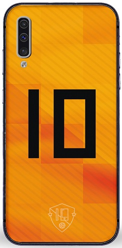 Oranje rugnummer 10 hoesje Samsung Galaxy A50