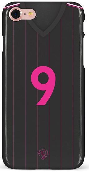 Zwart roze voetbalshirt hoesje iPhone softcase