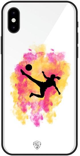 Voetbal meisje telefoonhoesje wit  iPhone Xs softcase