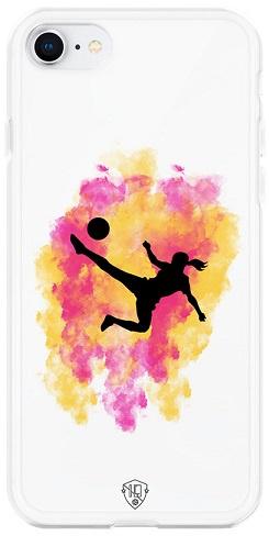 Voetbal meisje telefoonhoesje wit  iPhone 8 softcase