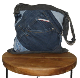 Denim shoulder bag in patchwork