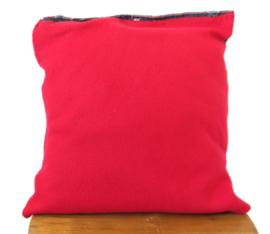 Sierkussen van denim en deken met knoop 40x40 cm