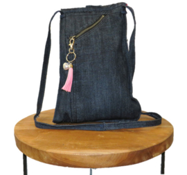 Denim shoulder bag with flowery lining
