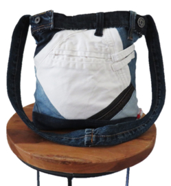 Shoulder bag denim contrast