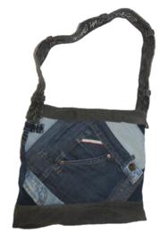 Denim shoulder bag in patchwork