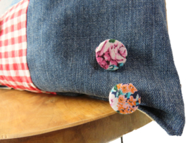 Sierkussen van denim en overhemd patchwork 45x45 cm