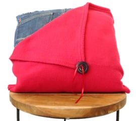 Denim cushion with a red blanket and a button 40x40 cm
