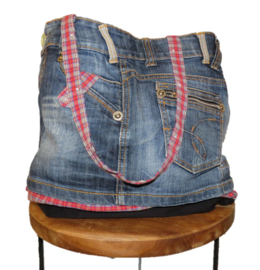 Schoudertas denim en rode ruit