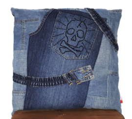 Denim cushion SKULL 45x45 cm