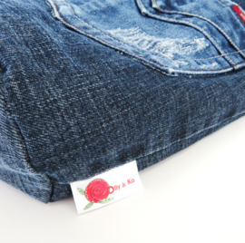 Shopper denim met knopen en strepen