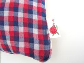 Sierkussen met 50/50 effect van denim en houthakkers overhemd 45X45 cm
