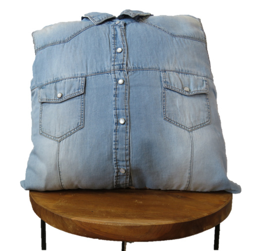 Denim shirt cushion 40x40 cm