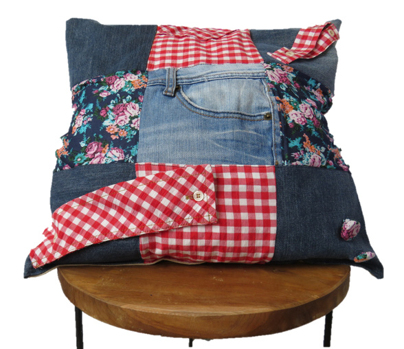 Patchwork cushion of denim, flowers and checkers 45x45 cm