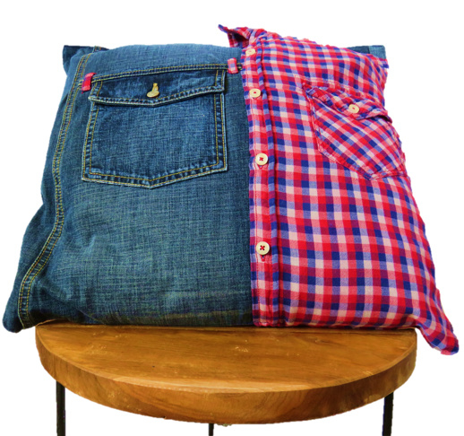 Cushion of denim and shirt with pockets 45x45 cm