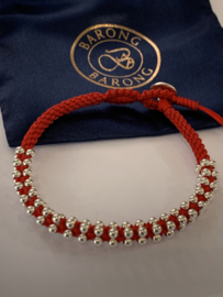 Barong Barong  Lucky Bracelet Rood Zilver