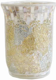 Yankee Candle Jar Holder Gold and Pearl Crackle
