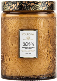 Voluspa Japonica Collection Embossed Glass Large Baltic Amber