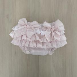 PRE ORDER babylai | pink plumenti bloomer met kant en strikken