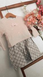 Gymp   knitted jurkje met velvet strikje