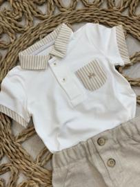 Gymp | polo tshirt wit/beige