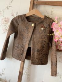 Le chic   bruine jacket met slangenprint