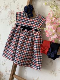 Dr.Kid   navy/red jurk velvet strik