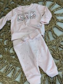 Le chic bébé   pink velvet setje met beertjes