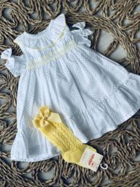 Dr.kid | jurk met polkadots en gele stikking