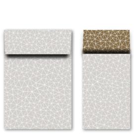 Kadozakjes M grafiek grijs/goud | 5 stuks