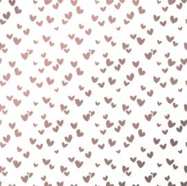 Tissuepapier | hartjes roze metallic | 5 stuks