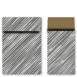 Kadozakjes L | strepen zwart/goud | 5 stuks