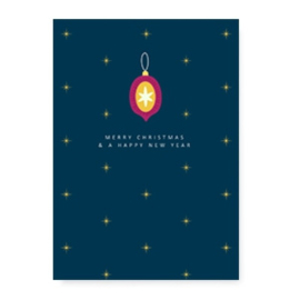 Kerstkaart | Merry christmas blauw