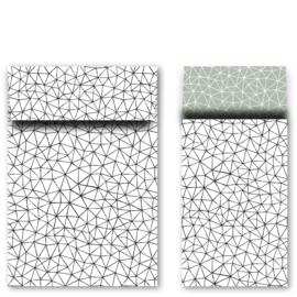 Kadozakjes M grafiek zwart/wit | 5 stuks