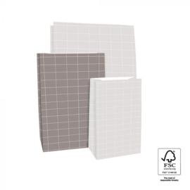 Blokbodemzak | Grid grijs M | 5 stuks