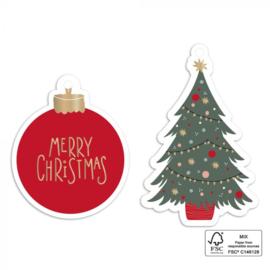 Kadolabels | kerstbal/kerstboom | 2 stuks