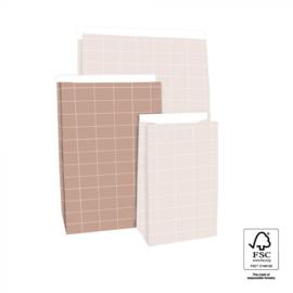 Blokbodemzak M | Grid roze | 5 stuks